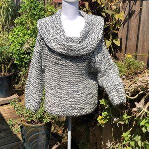 Debut Cowl Neck  Black / White Sweater        D115